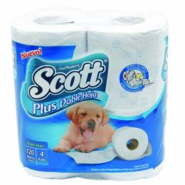 Papel Higiénico Scott Hoja Doble Blanco Rollos x 30 mts Paquete x 4 Rollos