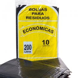 Bolsa para Residuos Común Negro 200 Lts Paquete x 10 Unidades