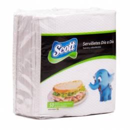 Servilleta de Papel Scott Blanco Chico 21 x 23 cm Paquete x 50 Unidades