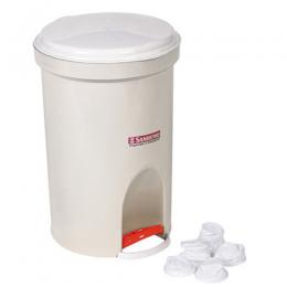Basurero Plástico Redondo con Pedal San Remo Crema 13,5 Lts Unidad