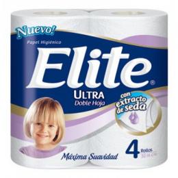 Papel Higiénico Elite Doble Hoja con Extracto de Seda Rollo x 30 mts Paquete x 4 Unidades